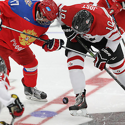 """COBOURG, - Dec 19, 2015 -  Gold Metal Game - Russia vs Canada West at the 2015 World Junior A Challenge at the Cobourg Community Centre, ON. The opening face-off of the 2015 Gold Medal Game of the World Junior """"A"""" Challenge .(Photo: Tim Bates / OJHL Images)"""