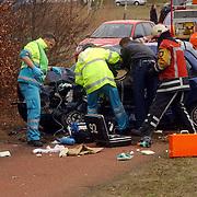 Dodelijk ongeval Randweg Huizen.politie, beknelling, verkeer, brandweer, ambulance, trauma