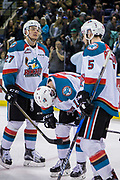 KELOWNA, CANADA - APRIL 30:  Calvin Thurkauf #27 of the Kelowna Rockets, Dillon Dube #19 of the Kelowna Rockets, Konrad Belcourt #5 of the Kelowna Rockets at the Kelowna Rockets game on April 30, 2017 at Prospera Place in Kelowna, British Columbia, Canada.  (Photo By Cindy Rogers/Nyasa Photography,  *** Local Caption ***