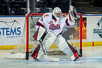 KELOWNA, CANADA - NOVEMBER 21: Dean McNabb #31 of the Regina Pats warms up in net against the Kelowna Rockets on November 21, 2018 at Prospera Place in Kelowna, British Columbia, Canada.  (Photo by Marissa Baecker/Shoot the Breeze)