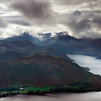 The Lake District with mountains and lakes in England