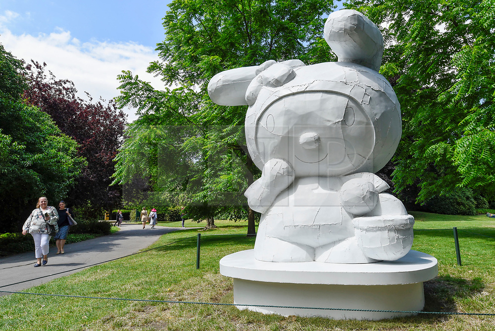 "© Licensed to London News Pictures. 03/07/2019. LONDON, UK. ""My Melody"", 2008, by Tom Sachs. Frieze Sculpture opens in Regent's Park, London's largest free display of outdoor art.  Works from 23 international artists are on display 3 July to 6 October 2019.  Photo credit: Stephen Chung/LNP"
