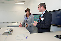 17/09/2013  REPRO FREE Donogh O'Shaughnessy Medtronic with Ms Máire Geoghegan-Quinn, EU Commissioner for Innovation, Research and Science at the opening of the Medtronic Global Innovation centre at Medtronic, Galway. Photo:Andrew Downes