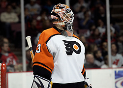 Mar 30, 2007; East Rutherford, NJ, USA; Philadelphia Flyers goalie Martin Biron (43) during the third period at Continental Airlines Arena in East Rutherford, NJ.