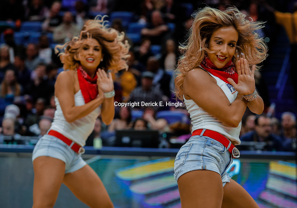 Jan 30, 2018; New Orleans, LA, USA; New Orleans Pelicans dance team performs during the first quarter against the Sacramento Kings at the Smoothie King Center. Mandatory Credit: Derick E. Hingle-USA TODAY Sports