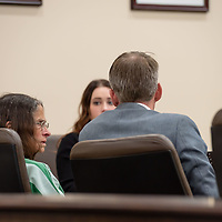 (left) Deborah Green, 71, talks with her defense counsel before the court goes into session for the sentencing at the Thirteenth Judicial District Court Wednesday afternoon in Grants.