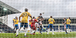 Falkirk's David McCracken scoring their fifth goal. <br /> Falkirk 6 v 0 Cowdenbeath, Scottish Championship game played at The Falkirk Stadium, 25/10/2014.