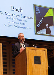 Mark Padmore thanks the public after receiving the DVD award for the Berlin Philharmoni Orchestra & Choir / JS bach: St Matthew Pasion (BPH), London, UK, April 9, 2013. Photo by Daniel Leal-Olivas / i-Images.