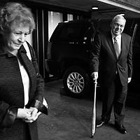 Mayor Thomas Menino and his wife, Angela, arrive at Boston City Hall for his last morning in office, Monday, January 06, 2014.