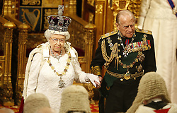 May 18, 2016 - London, GREAT BRITAIN - Britain's Queen Elizabeth II with Prince Phillip look at the assembled lawmakers after she read the Queen's Speech from the throne during the State Opening of Parliament in the House of Lords in London, Wednesday, May, 18, 2016. The State Opening of Parliament marks the formal start of the parliamentary year and the Queen's Speech sets out the government's agenda for the coming session. (Credit Image: © Prensa Internacional via ZUMA Wire)