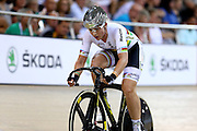 Annette Edmondson of Australia out front in the Women's Omnium Points race during the UCI Cycling World Cup at the Avantidrome, Cambridge, New Zealand, Sunday, December 06, 2015. Credit: Dianne Manson/CyclingNZ/UCI
