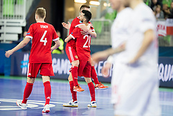 Players of team Russia celebrate goal during futsal match between Russia and Poland at Day 1 of UEFA Futsal EURO 2018, on January 30, 2018 in Arena Stozice, Ljubljana, Slovenia. Photo by Urban Urbanc / Sportida