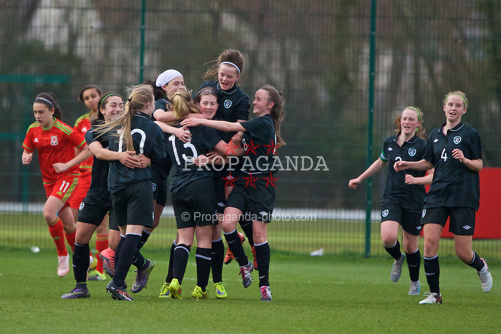 NEWPORT, WALES - Friday, April 1, 2016: Republic of Ireland's Louise Masterson [#13] celebrates scoring the second goal against Wales during Day 1 of the Bob Docherty International Tournament 2016 at Dragon Park. (Pic by David Rawcliffe/Propaganda)