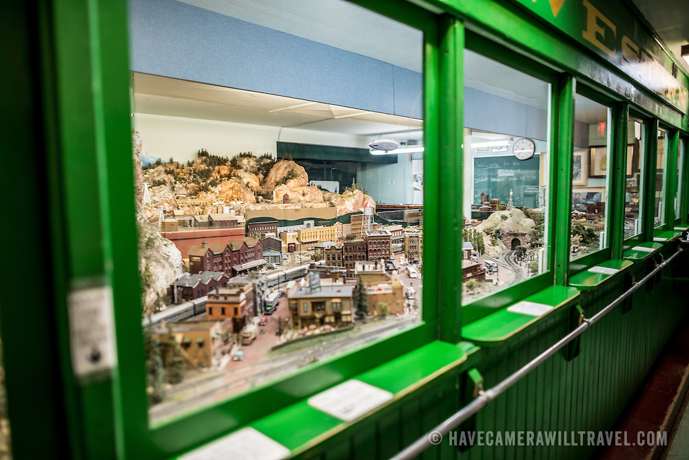 An expansive model train display at the Colorado Railroad Museum in Golden, Colorado.