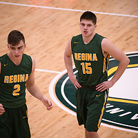 1st year guard Brayden Kuski (15) of the Regina Cougars during the Men's Basketball home game on November 11 at Centre for Kinesiology, Health and Sport. Credit: Arthur Ward/Arthur Images