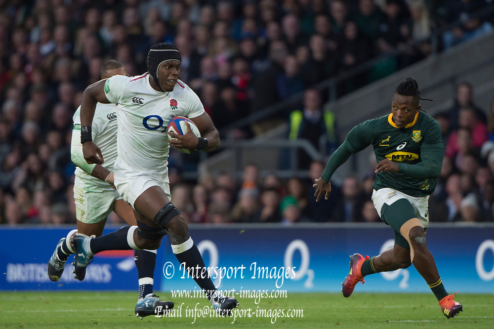 Twickenham, United Kingdom, Saturday, 3rd November 2018, RFU, Rugby, Stadium, England,  Maro ITOJE, on the run, during the Quilter, Autumn International, England vs South Africa, © Peter Spurrier