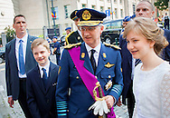 Brussels, 21-07-2016 <br /> <br /> National Day of Belgium celebrations.<br /> King Filip and Queen Mathilde and their children attend  Military Parade<br /> <br /> COPYRIGHT:ROYALPORTRAITS EUROPE/BERNARD RUEBSAMEN