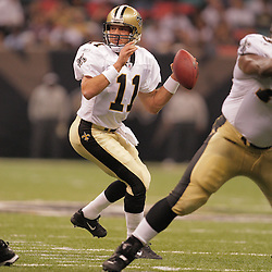 2008 August 28: Quarterback, Mark Brunell (11) of the New Orleans Saints drops back for a pass against the Miami Dolphins at the Louisiana Superdome in New Orleans, LA.