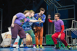 © Licensed to London News Pictures. 11/10/2012. London, England. Pictured: Daniel Buckley as Marvin, Richard Lowe as Lucas, Lil' Chris as Francis and Aaron Sidwell as Michael. LOSERVILLE, a new original British musical created by Elliot Davis and James Bourne, is set in 1971 in an American High School and features Aaron Sidwell (EastEnders), Eliza Hope Bennett (Nanny McPhee), Stewart Clarke, Charlotte Harwood (Hollyoaks), Richard Lowe, Lil' Chris (Rock School) and Daniel Buckley. Photo credit: Bettina Strenske/LNP