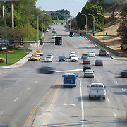 Pershing Rd and Main Street from The Link skywalk - Kansas City, Missouri. Taken for Rhythm Engineering.