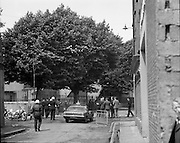 Bomb Damage, Green St. Court.15/07/1976.07/15/1976.15th July 1976.Photograph of members of an Garda Siochana setting up a roadblock close to the Special Criminal Court, Green Street which has just been bombed.