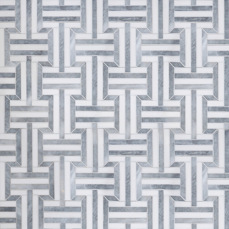 Gaston, a handmade mosaic shown in polished Dolomite and Allure, is part of the Illusions™ Collection by New Ravenna.