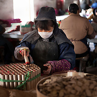 Hunan, Liuyang, Dec. 19..2013 : Luo Huiqing, a worker, assembles  fireckrackers for the Western market in a factory .