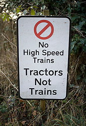 © Licensed to London News Pictures. 27/01/2012. Wendover, UK. An anti HS2 (High Speed Rail 2) sign near the town of Wendover, Buckinghamshire. Scheduled to be completed by 2033, the new Rail system will have huge effects on the local countryside. Photo credit : Ben Cawthra/LNP