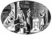 French grocer and druggist. In foreground a boy uses pestle and mortar to grind ingredients. In right background, balance for weighing goods hangs over counter. After 16th century print.