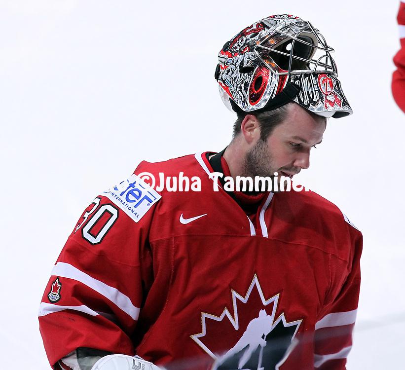 4.5.2012, Hartwall-Areena, Helsinki, Finland..IIHF Ice Hockey World Championship 2012 / Jkiekon MM-kisat 2012..Preliminary round - Group H - Game 3..Canada - Slovakia..Cam Ward - Canada..