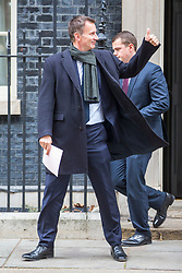 © Licensed to London News Pictures. 14/01/2019. London UK. Foreign Secretary Jeremy Hunt leaving number 10 Downing Street today. Photo credit: Andrew McCaren/LNP