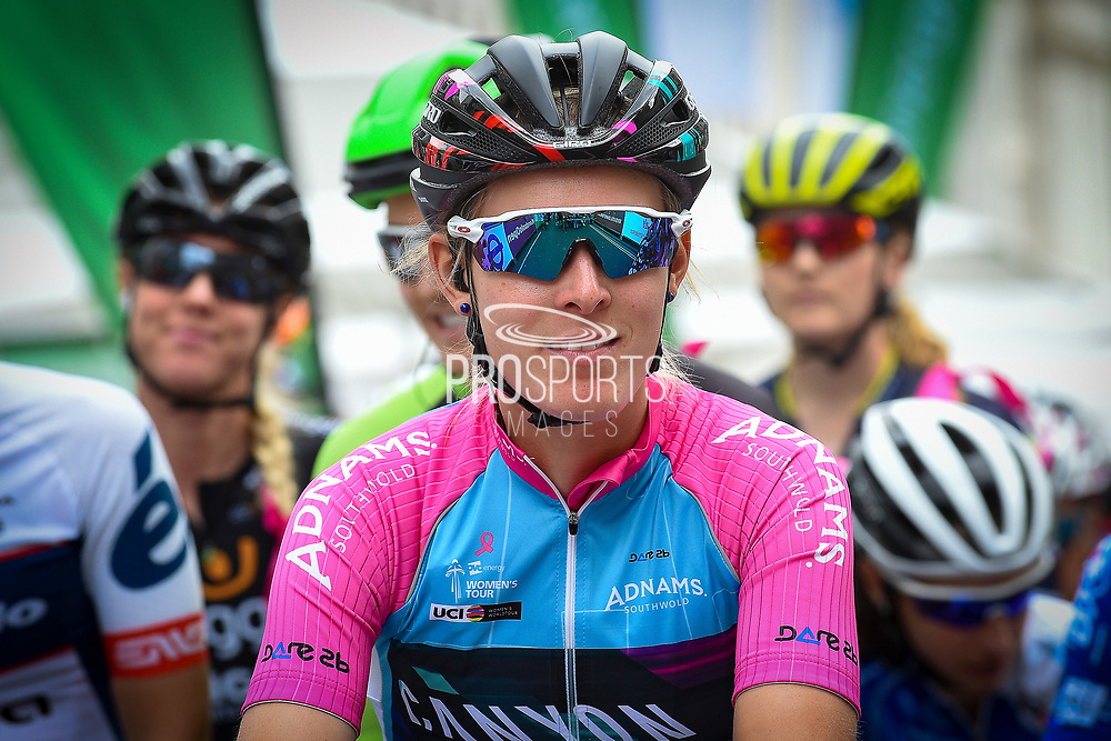 Hannah Barnes (GBR) riding for Canyon/SRAM Racing  on the start grid before the OVO Energy Women's Tour, London Stage, at Regent Street, London, United Kingdom on 11 June 2017. Photo by Martin Cole.