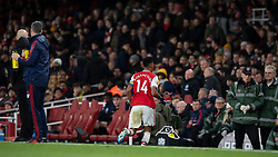 LONDON, ENGLAND - Thursday, December 5, 2019: Arsenal's Pierre-Emerick Aubameyang runs off the pitch in the middle of the game during the FA Premier League match between Arsenal FC and Brighton & Hove Albion FC at the Emirates Stadium. (Pic by Vegard Grott/Propaganda)