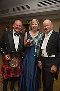 LORD BIDDULPH; LADY ALEX FOLEY; FRED VONCK, The Royal Caledonian Ball 2015. Grosvenor House. Park Lane, London. 1 May 2015.