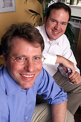 Feature on Wide Learning. Jesse Norman Chairman (white shirt) and Simon Eyers (blue shirt) Chief Financial Officer, August 30, 2000. Photo by Andrew Parsons/i-Images..