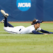 Auburn's Tiffany Howard (1) misses the ball as she dives for it at  during a college softball game between Auburn and UCLA at the Women's College World Series at ASA Hall of Fame Stadium in Oklahoma City, Thursday, June 2, 2016.  Photo by Kurt Steiss, The Oklahoman