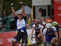 LONDON UK 30TH JULY 2016:  Kirsten Wild (Hitech Products) Finish Line The Mall. The Prudential RideLondon Classique elite womens' race. Prudential RideLondon in London 30th July 2016<br /> <br /> Photo: Jon Buckle/Silverhub for Prudential RideLondon<br /> <br /> Prudential RideLondon is the world's greatest festival of cycling, involving 95,000+ cyclists – from Olympic champions to a free family fun ride - riding in events over closed roads in London and Surrey over the weekend of 29th to 31st July 2016. <br /> <br /> See www.PrudentialRideLondon.co.uk for more.<br /> <br /> For further information: media@londonmarathonevents.co.uk