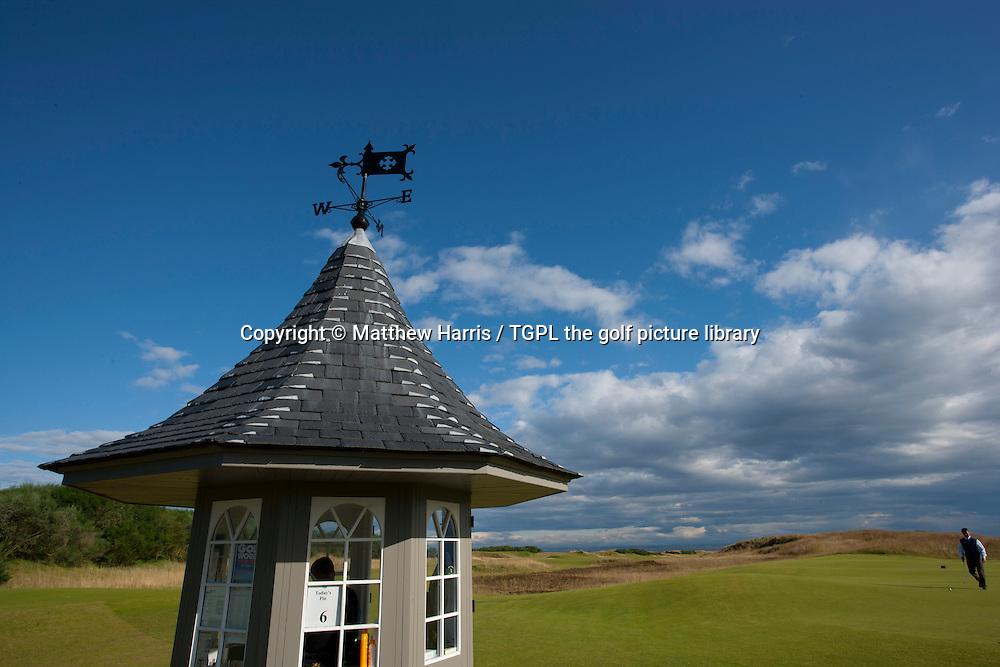 Starters hut at Kingsbarns Golf Links during summer ,Kingsbarns,Fife,Scotland.