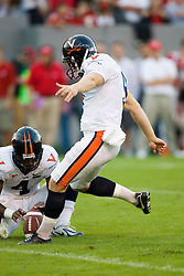 Virginia kicker Chris Gould (9) kicks a field goal.  The North Carolina State Wolfpack defeated the #15 Virginia Cavaliers 29-24 at Carter Finley Stadium in Raleigh, NC on October 27, 2007.