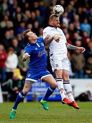 David Wheater of Bolton Wanderers and Jamie Stott of Oldham Athletic - Mandatory by-line: Matt McNulty/JMP - 15/04/2017 - FOOTBALL - Boundary Park - Oldham, England - Oldham Athletic v Bolton Wanderers - Sky Bet League 1