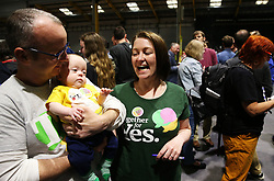 Aileen Kennedy and her husband Colm O'Riainholds with their13 week old son Ruairi at the count centre in Dublin's RDS as votes are counted in the referendum on the 8th Amendment of the Irish Constitution which prohibits abortions unless a mother's life is in danger. Picture date: Saturday May 26, 2018. See PA story IRISH Abortion. Photo credit should read: Brian Lawless/PA Wire