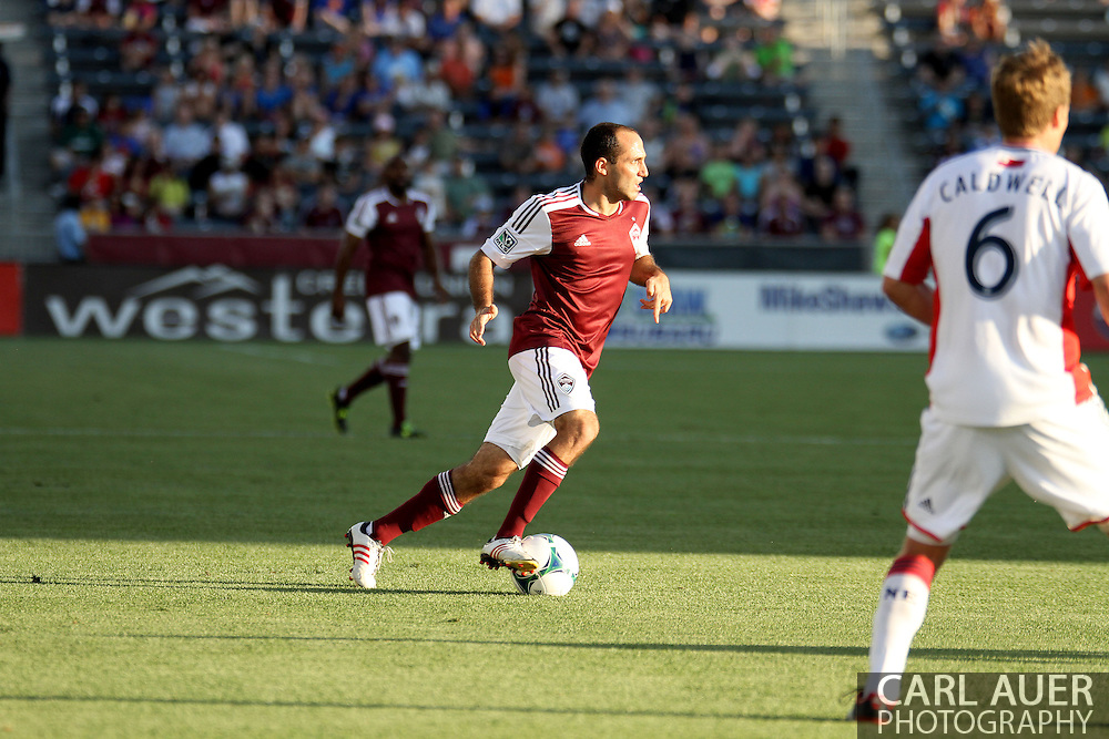 July 17th, 2013 - Colorado Rapids midfielder Nick LaBrocca (2) pushes the ball towards the center of the field in the first half of the Major League Soccer match between the New England Revolution and the Colorado Rapids at Dick's Sporting Goods Park in Commerce City, CO