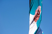 Philadelphia, Pennsylvania - September 17, 2015: A banner of a smiling Pope Francis flaps in the wind.<br /> <br /> <br /> Scott Mirkin's company ESM is heading the production of The World Meeting Of Families and Pope Francis's visit to Philadelphia this Fall. The events will take place along the Benjamin Franklin Parkway.<br /> <br /> CREDIT: Matt Roth for The New York Times<br /> Assignment ID: 30179397A