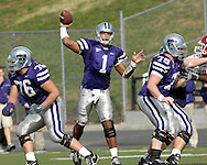Kansas State quarterback Josh Freeman (1) throws the ball down field in the first half against Iowa State at Bill Snyder Family Stadium in Manhattan, Kansas, October 28, 2006.  The Wildcats beat the Cyclones 31-10.<br />