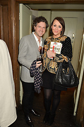 MARTINE McCUTCHEON and her husband JACK McMANUS at a party to celebrate the publication of The Stylist by Rosie Nixon held at Soho House, London on 10th February 2016.