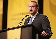 28 August 2007:  Republican presidential hopeful and former Arkansas governor Mike Huckabee delivers his opening comments at the LIVESTRONG Presidential Cancer Forum in Cedar Rapids, Iowa on August 28, 2007.