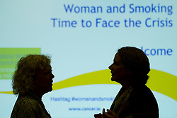 No fee for Repro: 4/07/2012.Amanda Amos, Professor of Health Promotion, Centre for Population Health Sciences, University of Edinburgh and Dr Jude Robinson, reader in the Anthropology of Health and Illness, Department of Sociology, Social Policy and Criminology, University of Liverpool guest speakers at the ?Women and Smoking: Time to Face the Crisis? conference today where the Irish Cancer Society highlighted how the tobacco industry is aggressively targeting women and girls in the hope to recruit more women smokers. The conference, held in association with the National Women's Council of Ireland, addessed the crisis of women and smoking and the fact that for the first time more women in Ireland are dying from lung cancer than breast cancer. Picture: Andres Poveda