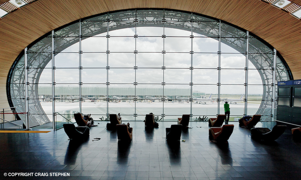 Inside terminal two, Charles De Gaulle airport, Paris, France