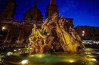 Fountain of the Four Rivers, Piazza Navona, Rome, Italy