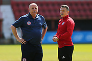 Accrington Stanley  manager John Coleman and  Accrington Stanley  Scott Brown (8) before the EFL Sky Bet League 2 match between Swindon Town and Accrington Stanley at the County Ground, Swindon, England on 5 May 2018. Picture by Gary Learmonth.